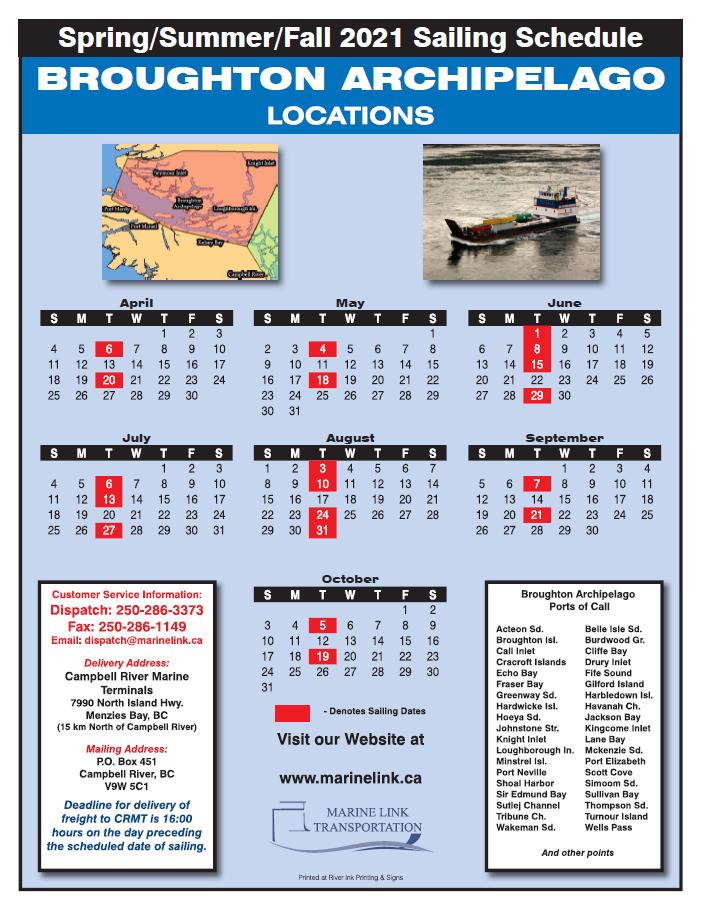 Marine Link Schedule - Summer 2021 - BROUGHTON