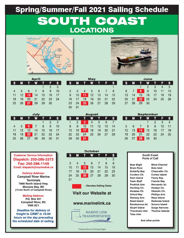 Marine Link Schedule - Summer 2021 - SOUTH COAST