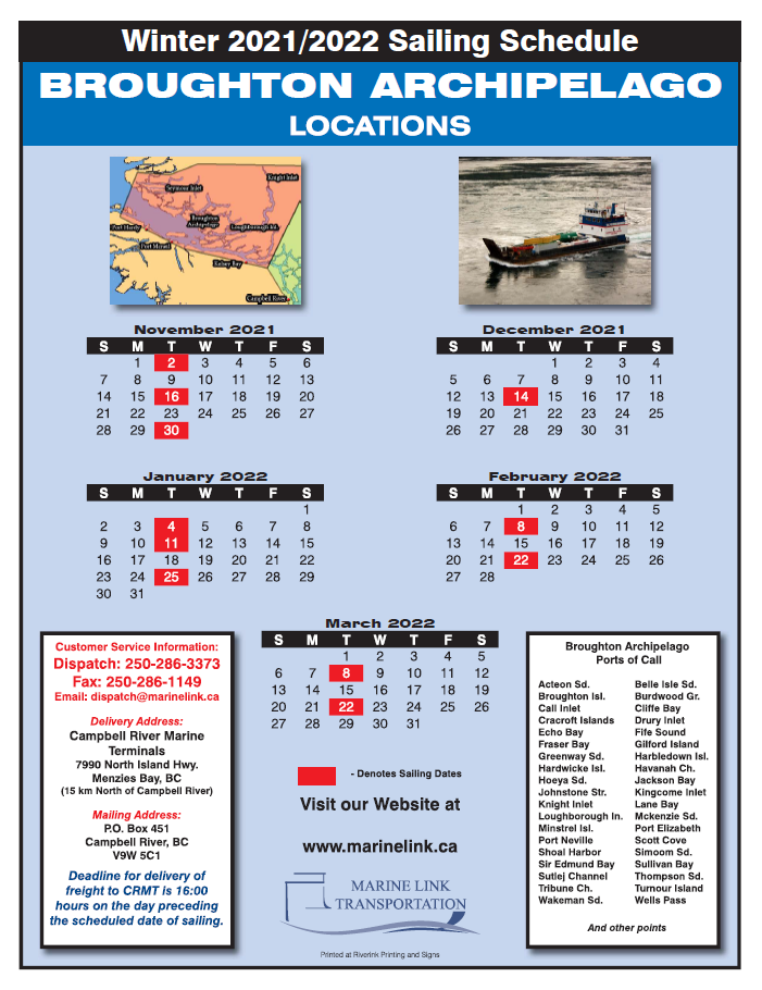 Marine Link Schedule - WInter 2022 - BROUGHTON