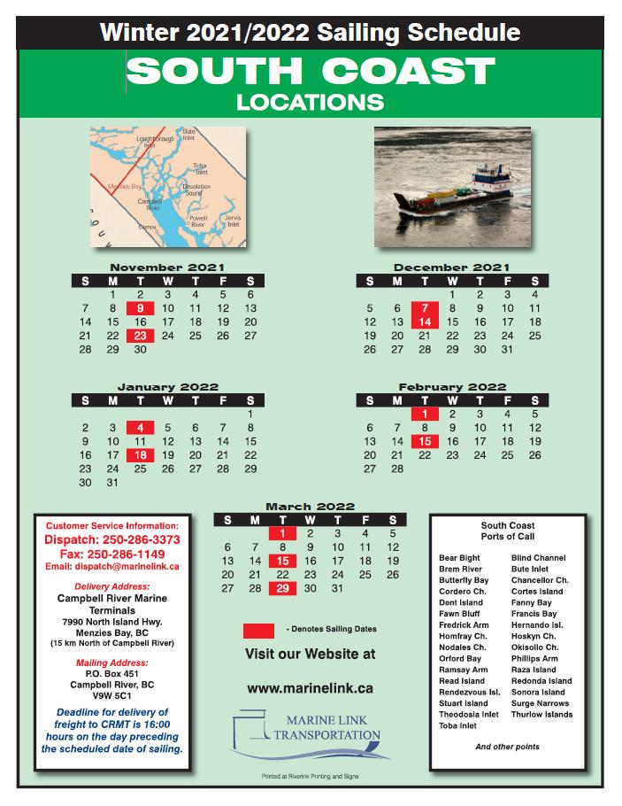 Marine Link Schedule - WInter 2022 - SOUTH COAST
